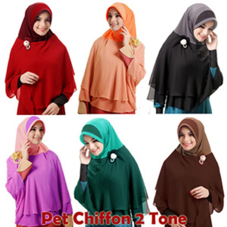 Hijab/Jilbab Khimar Pet Chiffon 2Tone