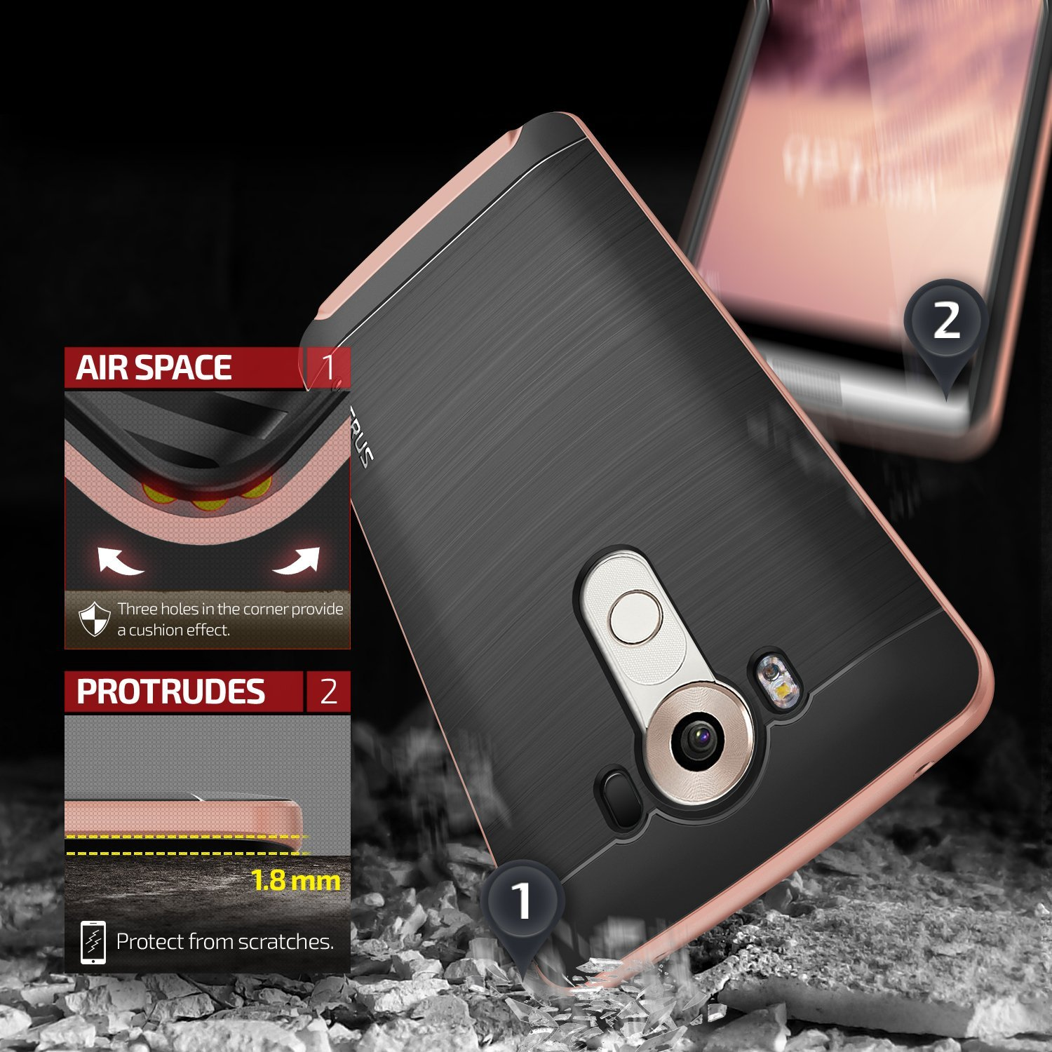 Verus High Pro Shield for LG V10 Rose - Gold