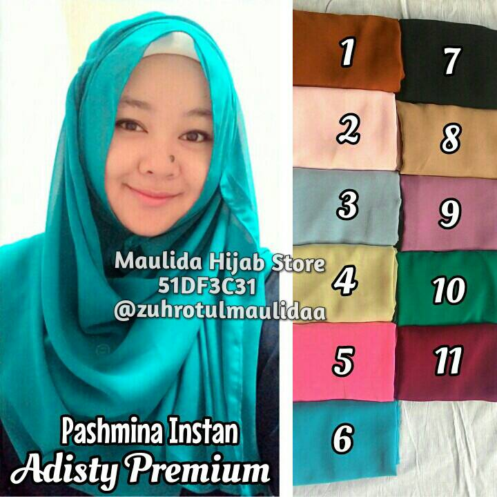 Pashmina Instan Adisty premium/ jilbab khimar / Maulida Hijab Store