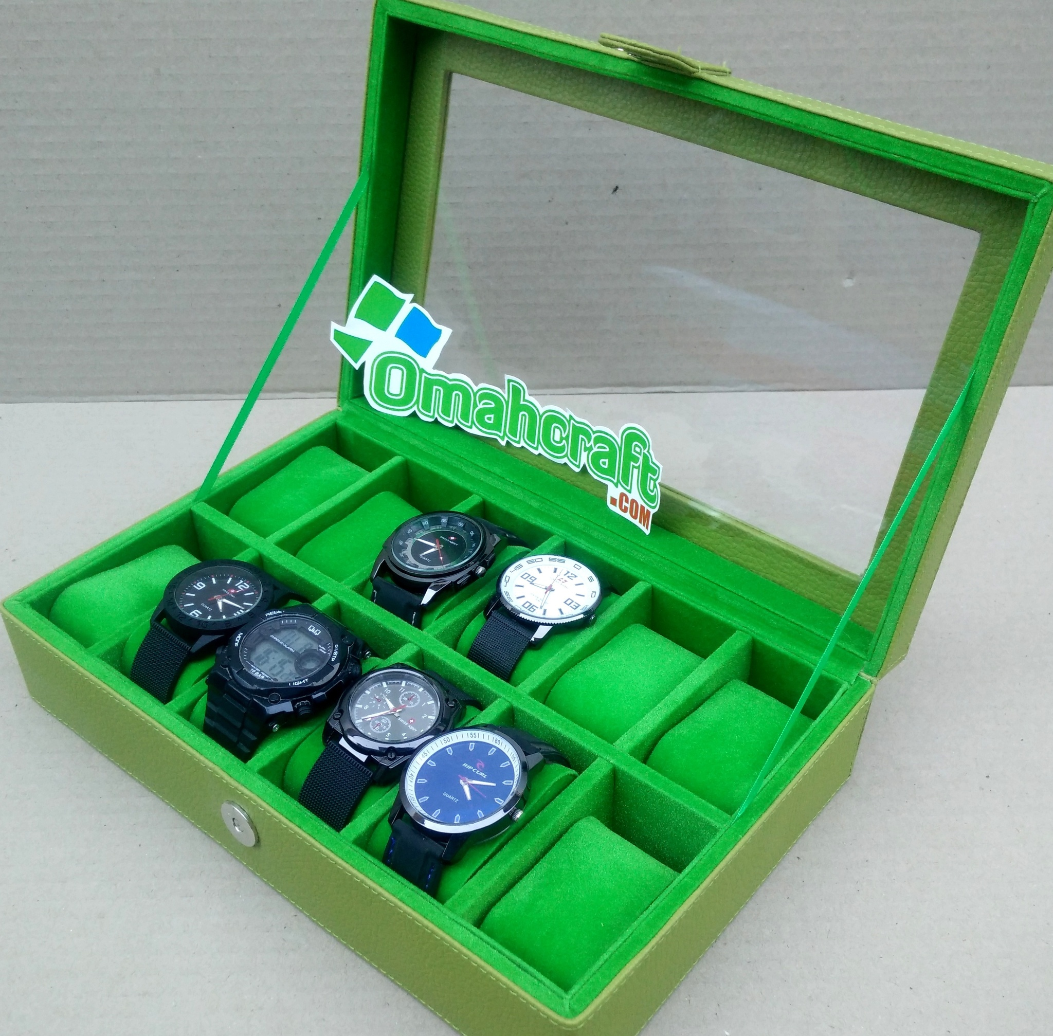 Jual Tempat Jam isi 12 HIJAU l Kotak Jam Tangan l Box Jam Tangan Murah Omah Craft