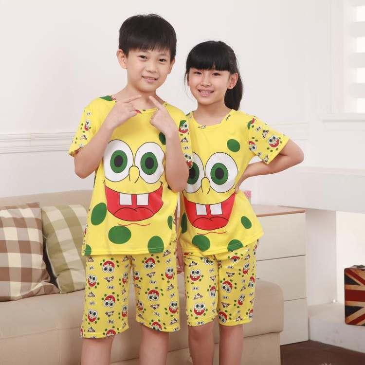 STKDL158 - Setelan Anak Selutut Spongebob Smile Dot