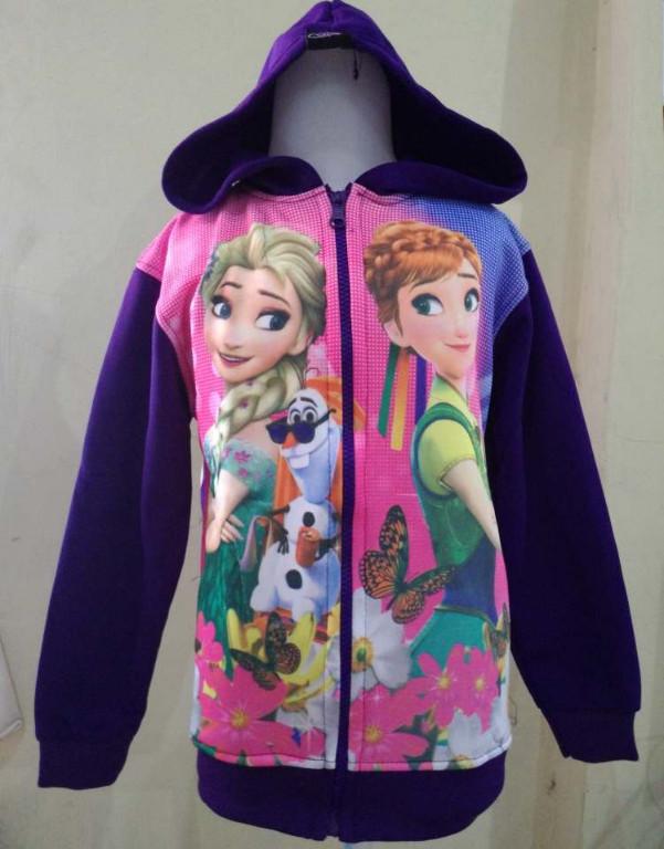 JKKD73 - Jaket Anak Frozen Elsa Anna Butterfly Purple