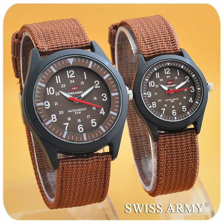 Jam tangan couple swiss army / jtr 072 coklat