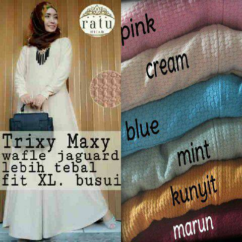 trixy maxy bahan jaguard ori ratu / supplier dress hijab