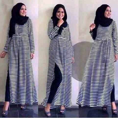 Hijab Salwah Stripe 3in1 ( maxi + Legging  +pashmina )