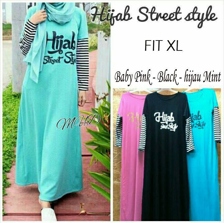 Baju Dress Maxi Hijab Street Style Baby Pink Black Hijau Mint