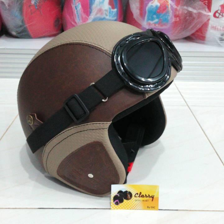 Harga Helm Retro Klasik Kulit Kacamata