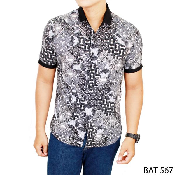 Jual Model Baju Batik Lengan Pendek Pria Katun Multi Colour BAT