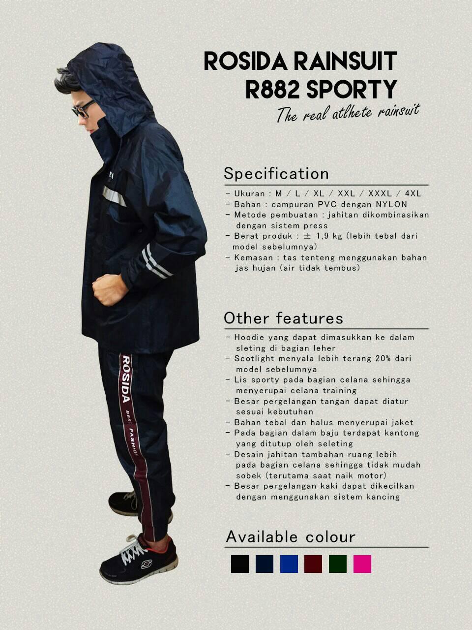 Harga Jas Hujan Rosida Sporty 882 Best Fashion 2016