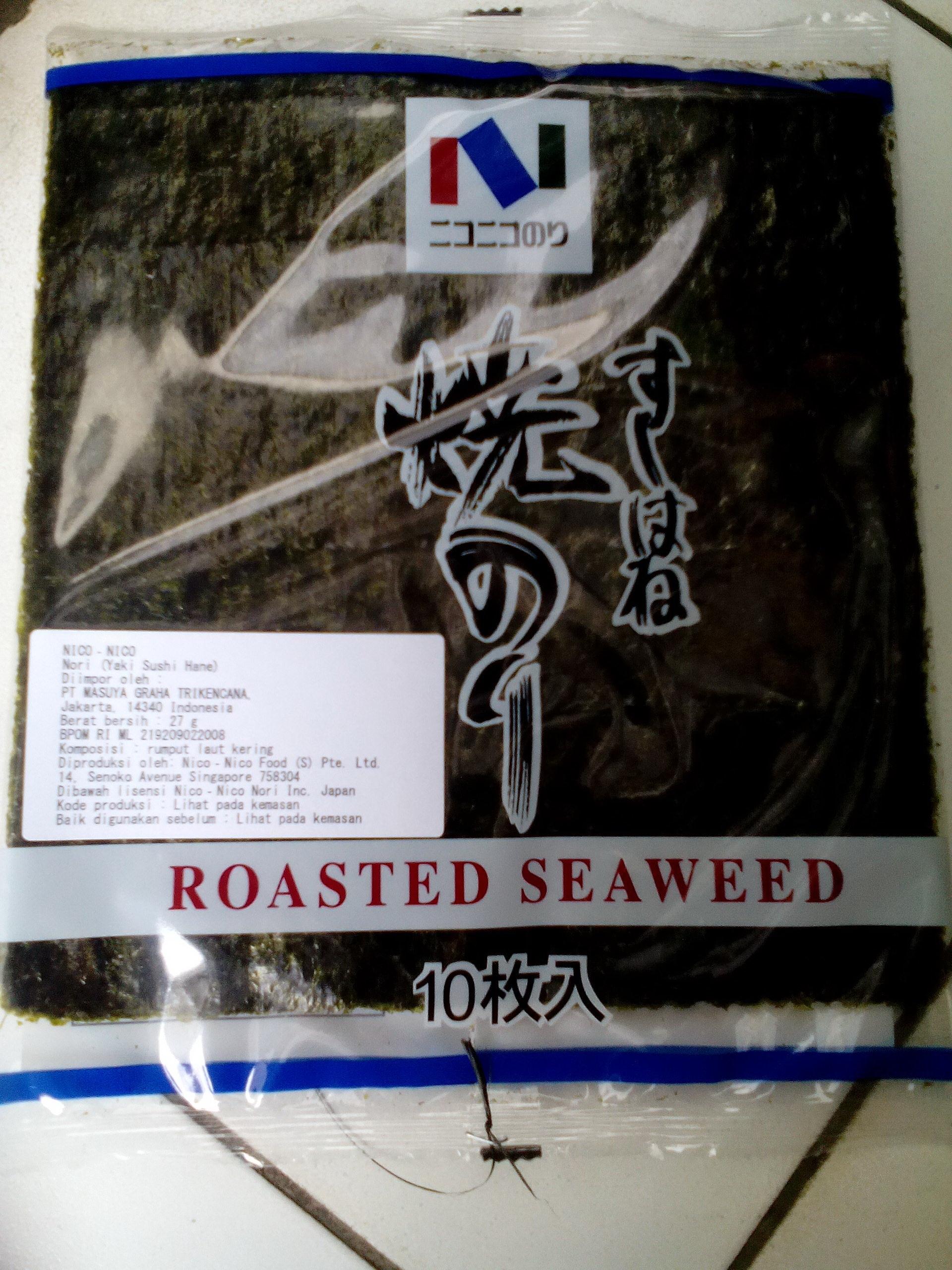 Nori Niconico Utk Sushi Onigiri N Other Japanese Food Daftar Harga Tokinori 50 Lembar Rumput Laut Uk 21x19cm Jual Nico