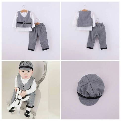 harga Summerfincor  - Set 4in1 Cool Baby Romper Grey With Hat Tokopedia.com
