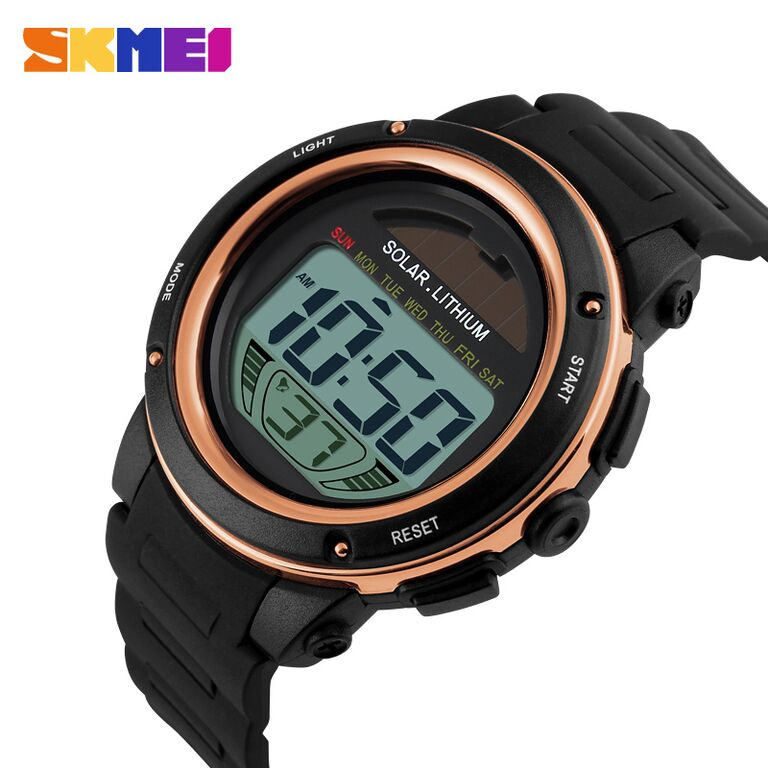 Jam Tangan Digital LED Tenaga Matahari / Solar Watch SKMEI-1096 Cowok