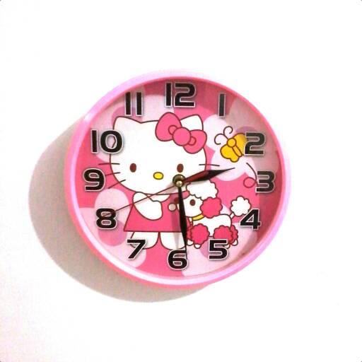 harga jam dinding bulat hello kitty pink Tokopedia.com