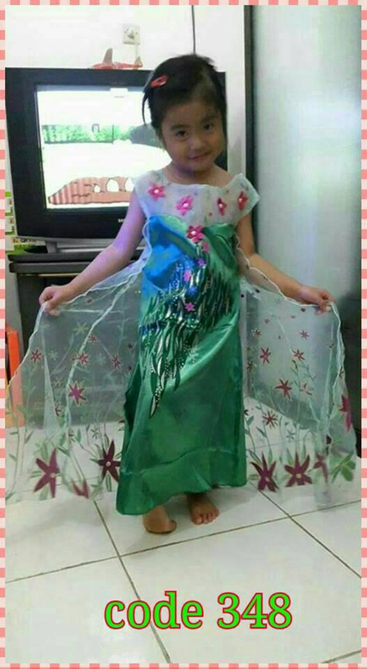 Jual Baju Dress Kostum Elsa Frozen Fever Anak Import Bagus