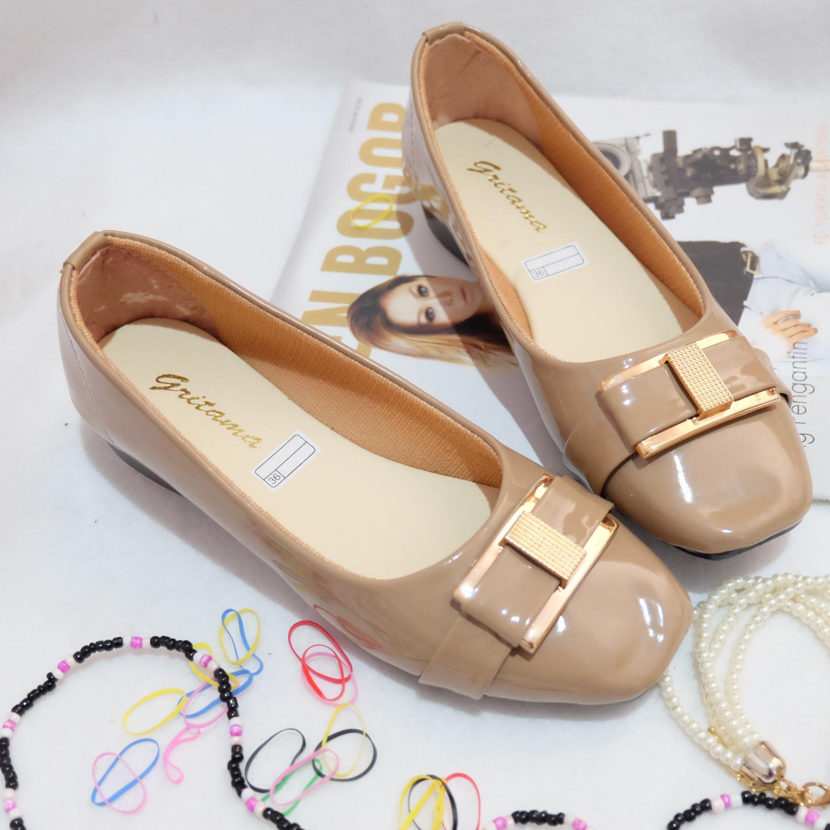 Jual PK55 - Sepatu Wanita Flat Shoes Cantik - Sepatu Remaja Black & Mocca - La