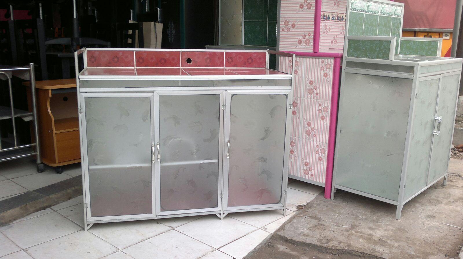 jual meja kompor 3 pintu rak piring dapur model rata