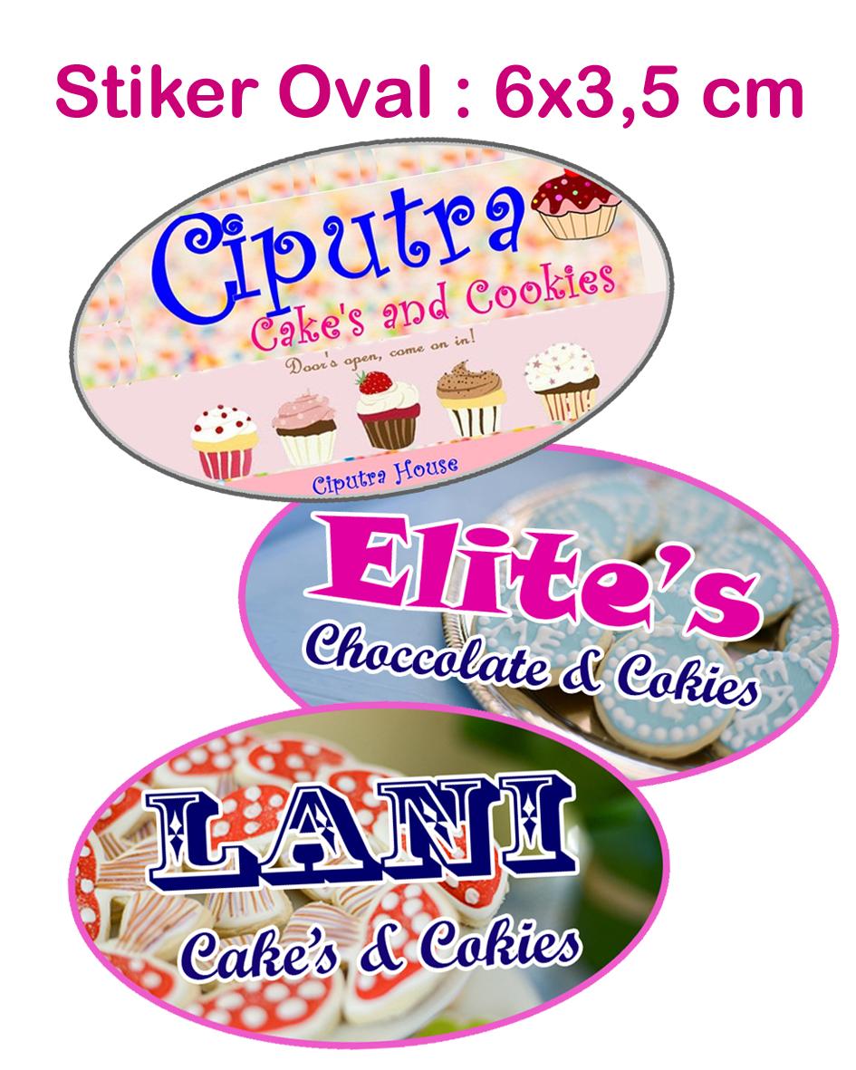 Jual stiker toples kue kering sticker label produk bentuk oval elips merah tokoinovasi tokopedia