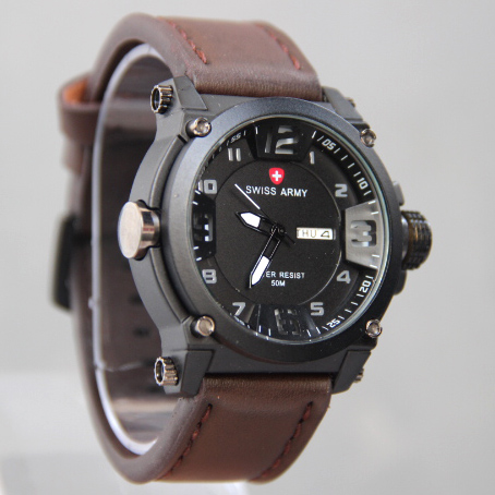 Jam Tangan Pria / Cowok Swiss Army Number Daydate Leather Dark Brown