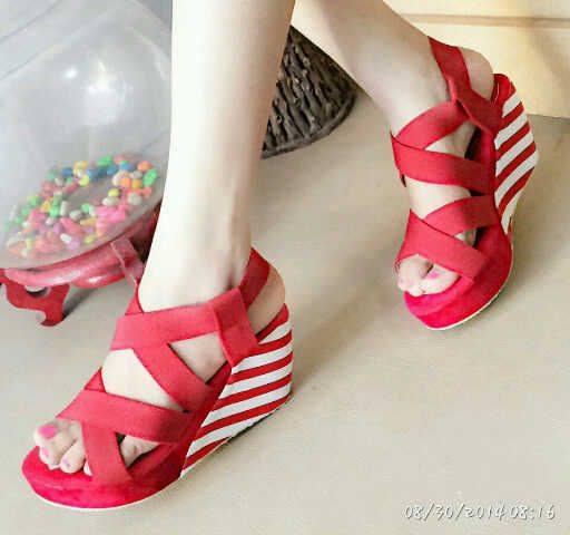 Jual Sepatu Sandal Wanita Wedges Suede Belang Tinggi Hak 9 ...
