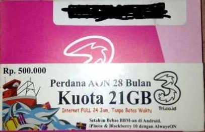 harga Perdana Internet Tri THREE - Kuota 21GB Always On AON 24 Bulan 2 Tahun Tokopedia.com