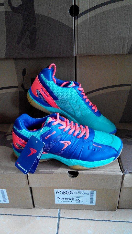 Jual Flypower Sepatu Badminton Blue Tosca Orange