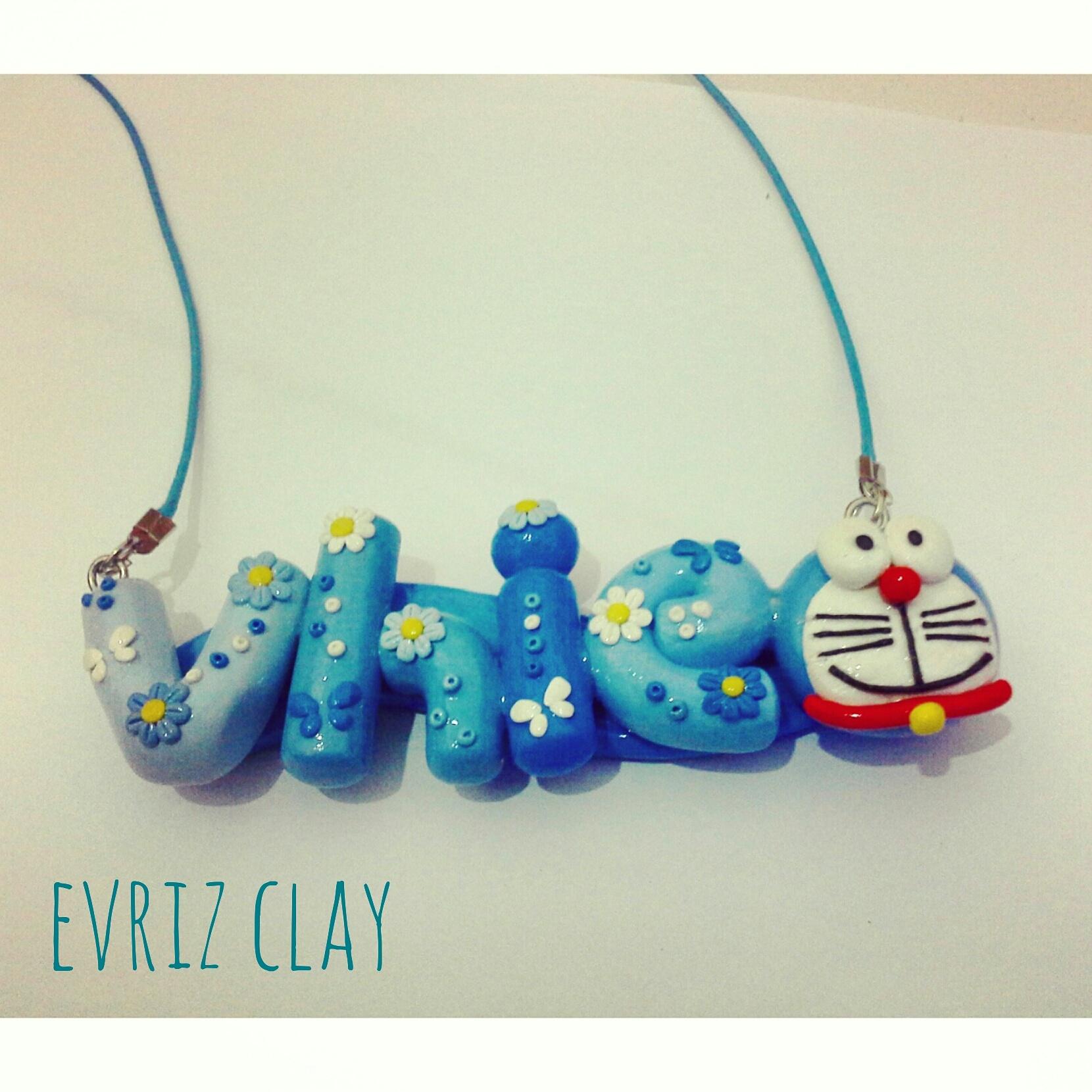 Jual Kalung Nama Doraemon Aksesoris Handmade Clay