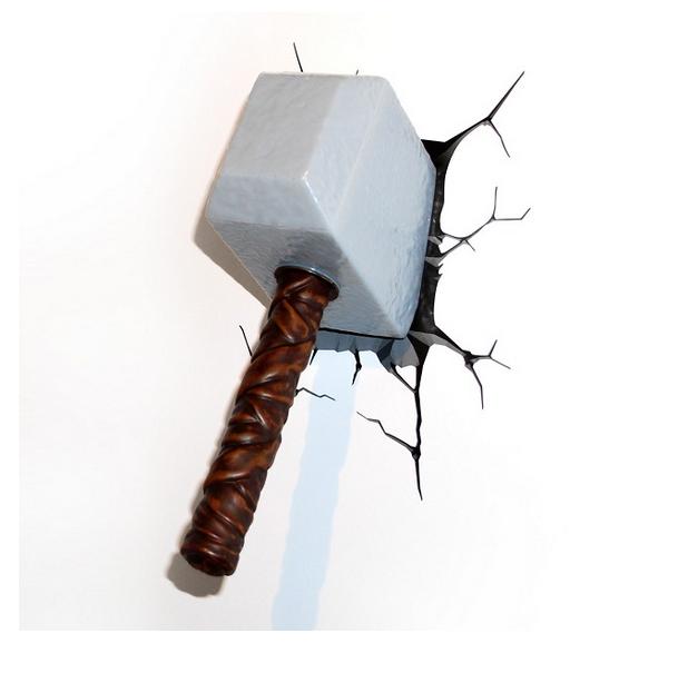 jual marvel 3d light fx 3d deco light thor hammer original