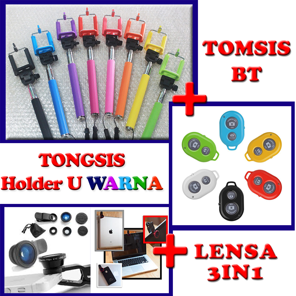 Jual Tongsis Holder U Lensa 3in1 Fisheye Macro Wide Tomsis Bluetooth Gdy Collection Tokopedia