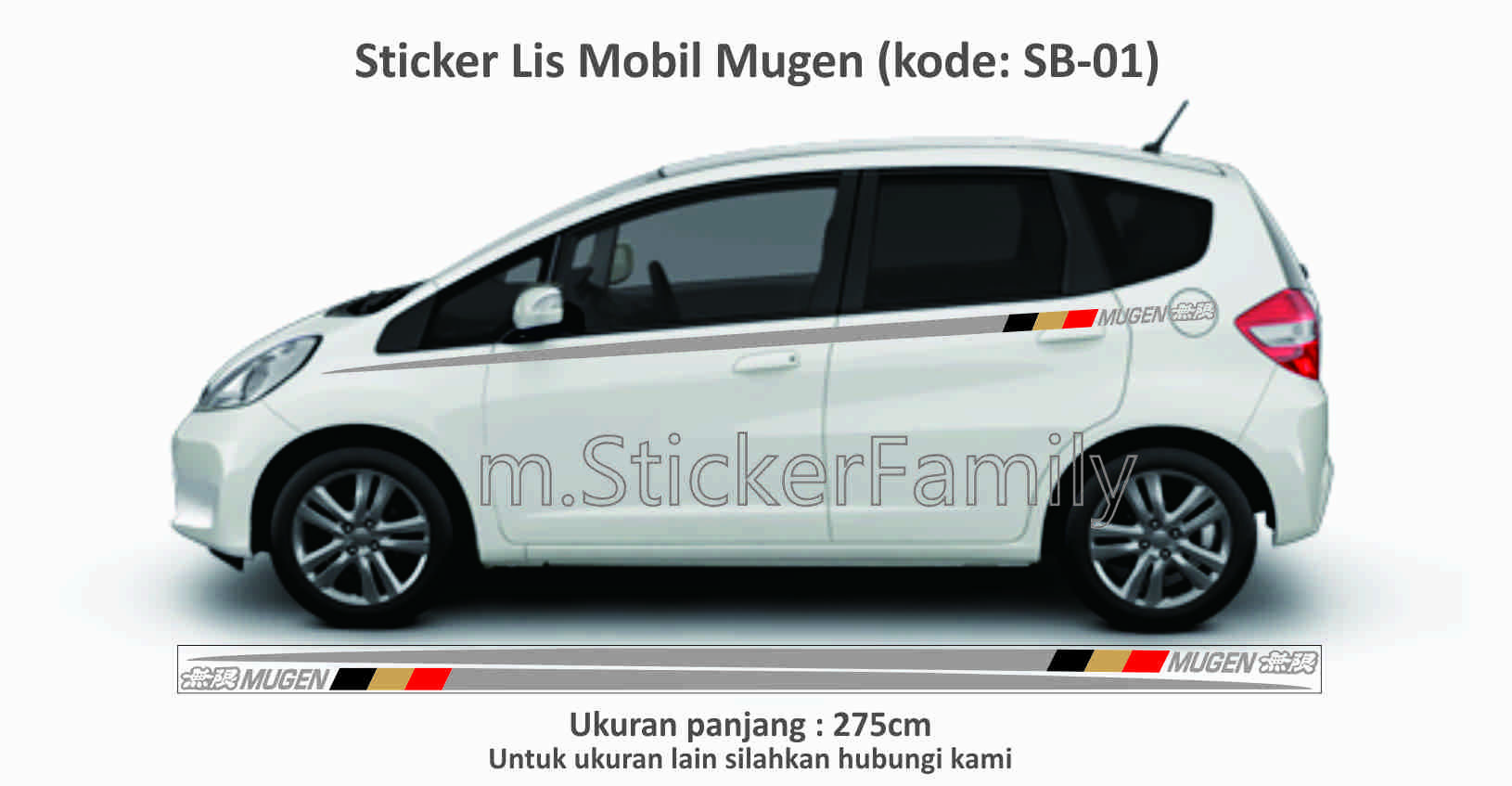 Sticker lis body mobil jazz mugen