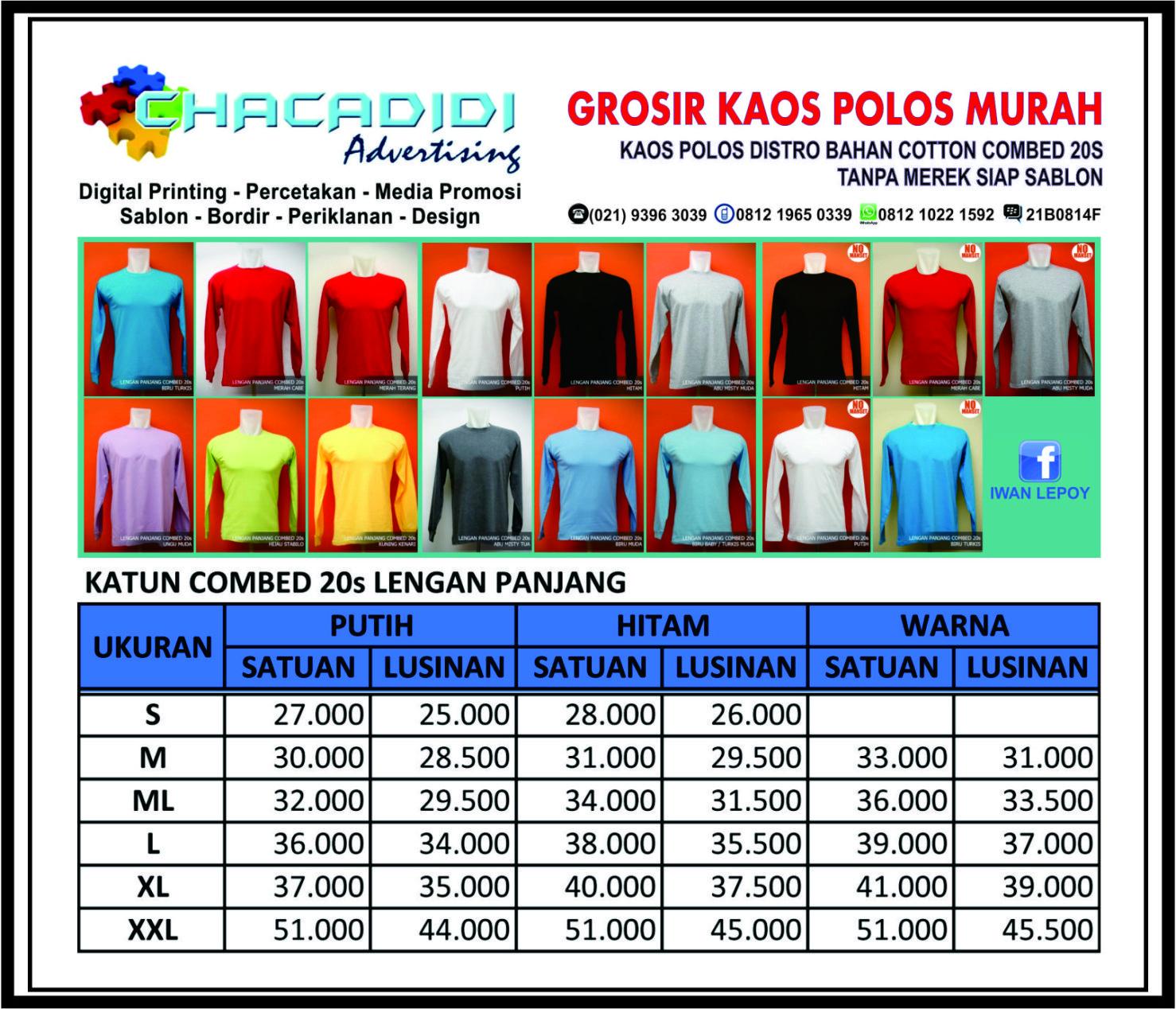 Jual Grosir Kaos Polos Warna Lengan Panjang Bahan Cotton Combed 20s Size M Uk Xxl Chacadidi Tokopedia