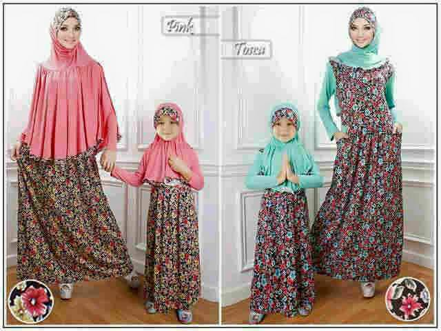 Kode 166 B Couple Mom And Kid Sarimbit Muslimah Couple Gamis Syari