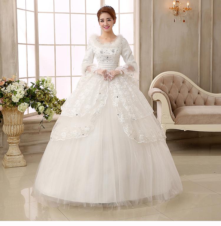 Jual Wedding dress Gaun Pengantin Lengan Panjang Kerah