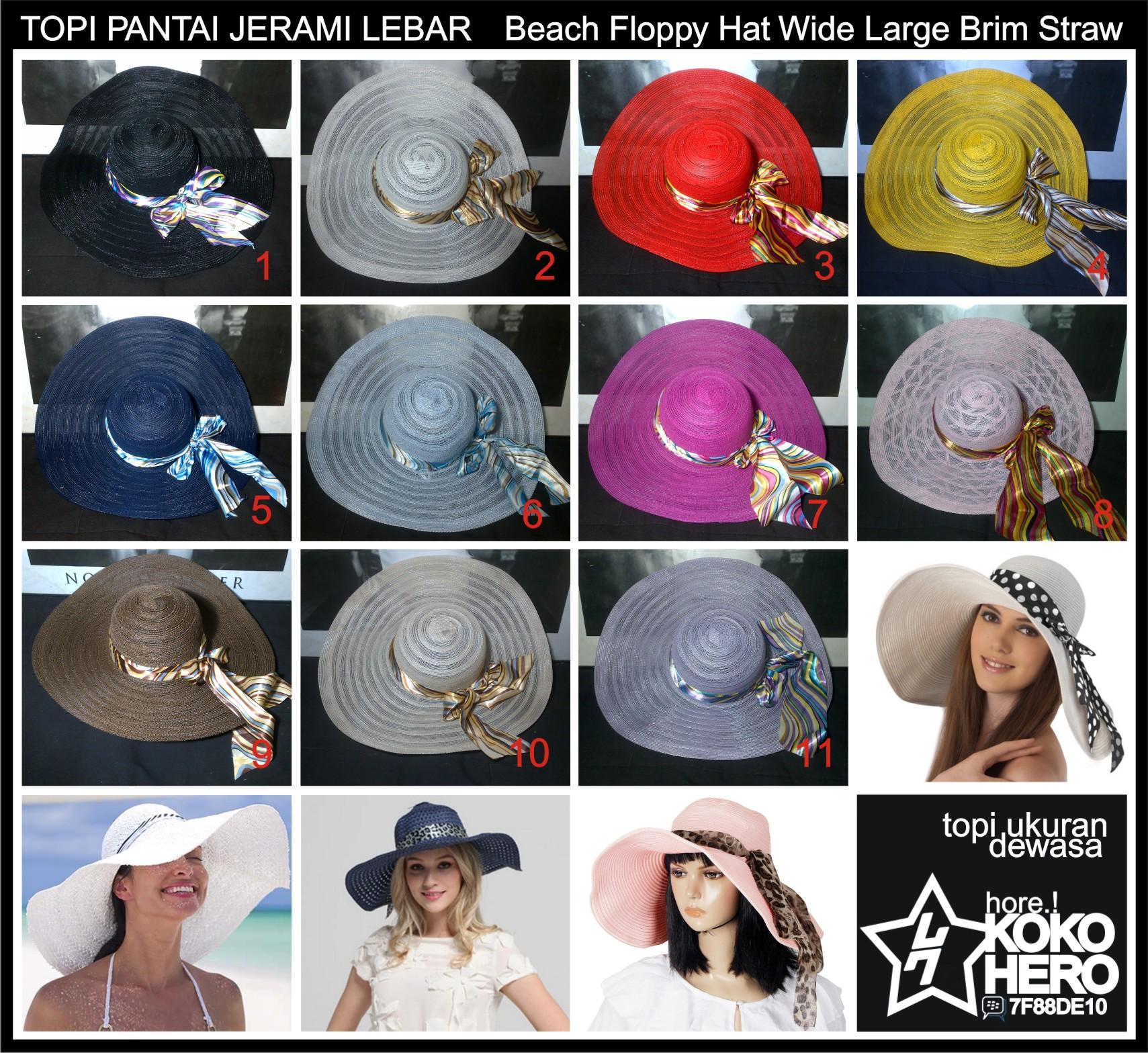 Jual Topi Pantai Pita Jerami Lebar Floppy Straw Hat Ribbon Wide ... ca82fa7612