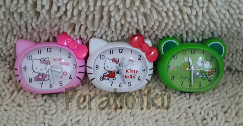 Jual Jam Alarm Weker Meja Bulat Cembung Hello Kitty