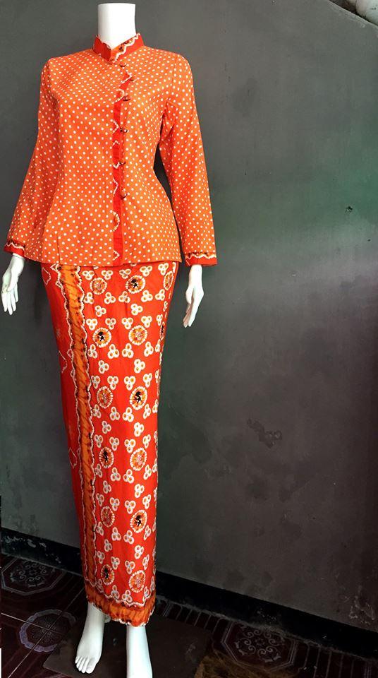 baju batik pramugari motif polkadot batik wanita