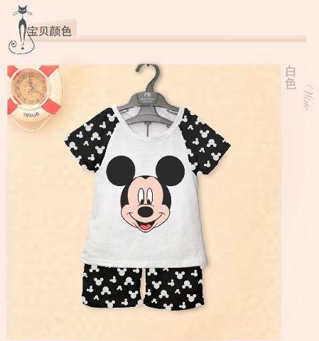 STKDK81 - Setelan Anak Kecil Mickey Mouse Face Black White Murah