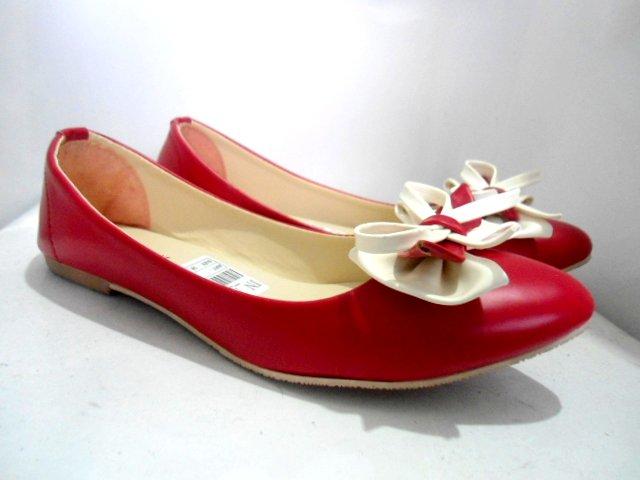 Flatshoes Kekinian Merah jual flat shoes rp012 rp12 elstore sepatu bogor