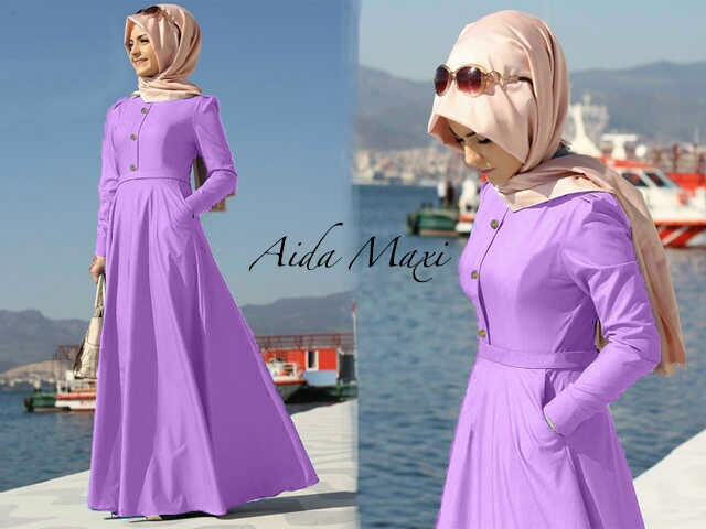Maxi hijab denim super aida maxi saku kcg (ungu) M