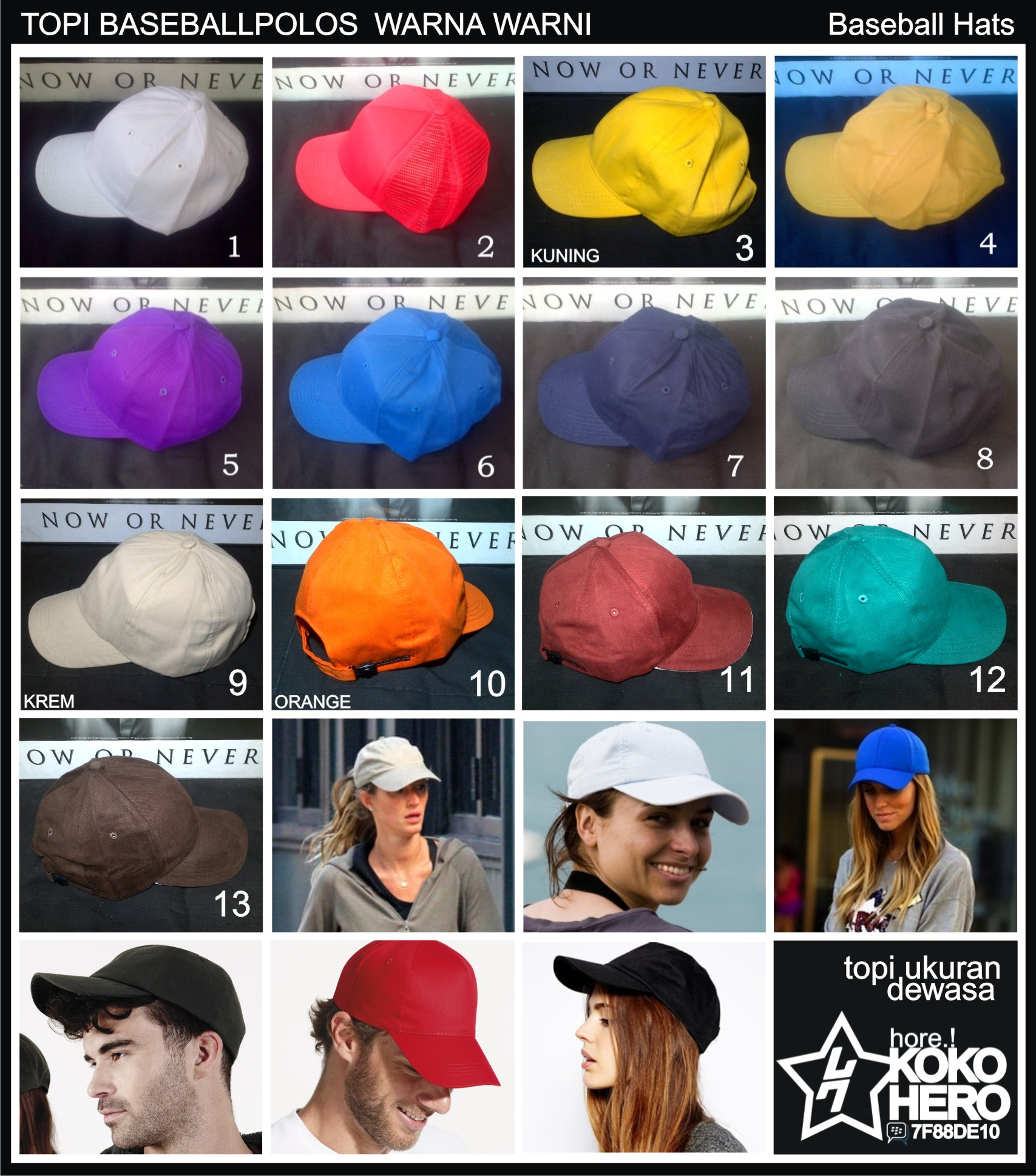 Jual Topi Baseball Polos Warna Warni Polosan bisa untuk pesanan ... 2723140e02