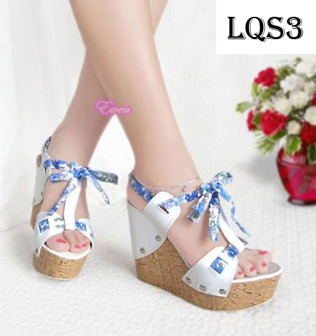 Jual Sepatu Sandal Wedges Wanita Cewek Pesta High Heel Hak Tinggi LQS3 - Cheap Grosir |