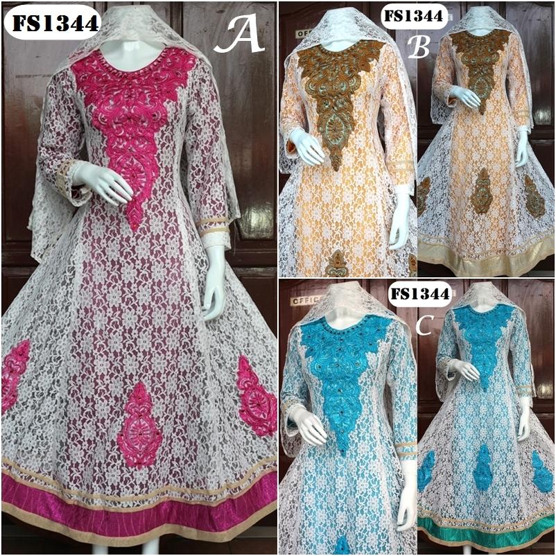 Harga Jual Baju Pesta Sari India Jodha Brokat Fs1344