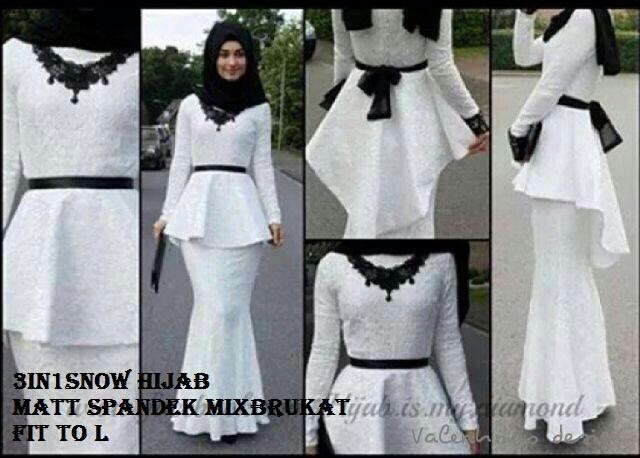 set setelan st hijab 3 in 1 snow