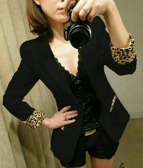 harga Blazer Black Motif Leopard / Blazer Kerja Hitam Tokopedia.com