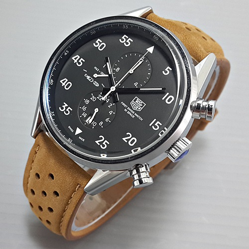 Jam tangan Tag Heuer Space Leather Brown plat Black
