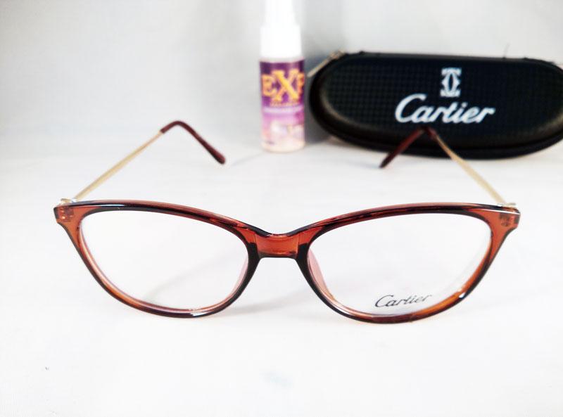 frame kacamata wanita cewe cartier 2176 coklat