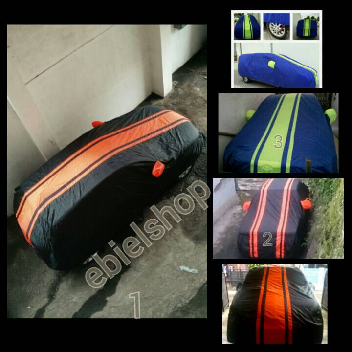 cover mobil list hijau/orange sedan/city car jazz,viaos,yaris