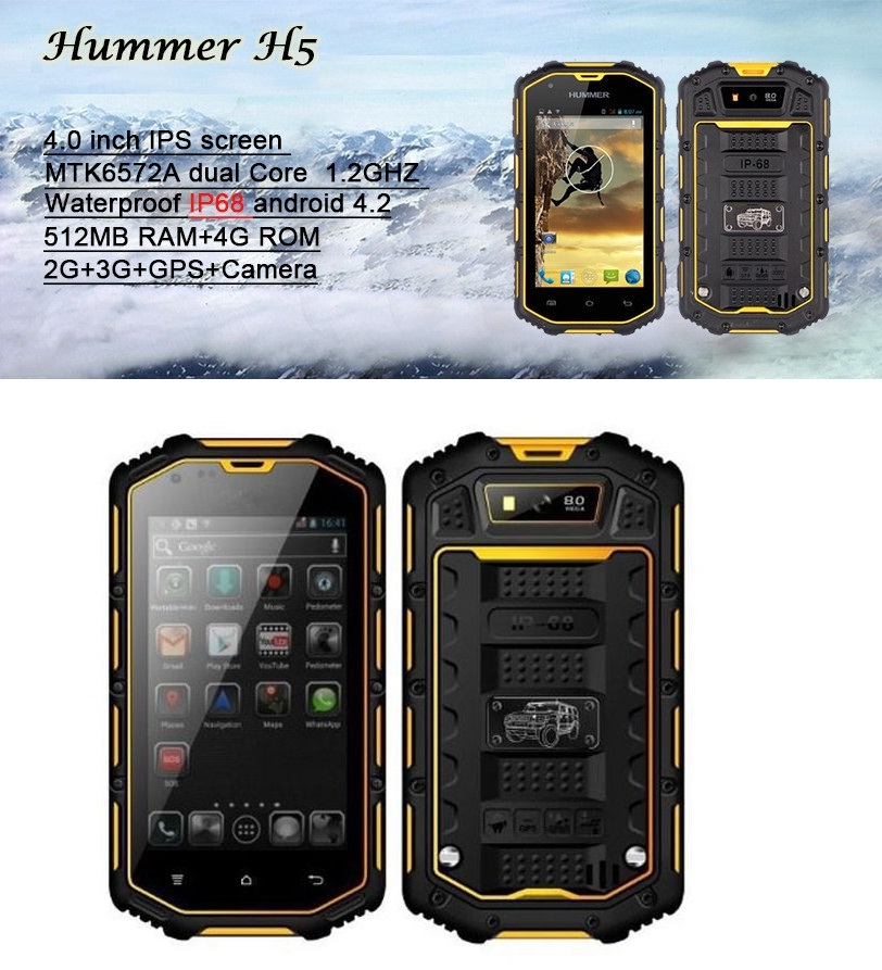 harga HUMMER H5 Waterproof PHONE 3g Dual Core Android 4.2.2 4GB WIF Tokopedia.com