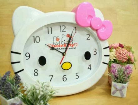 Jam Dinding Kepala ( L ) - Hello Kitty - Pita Pink