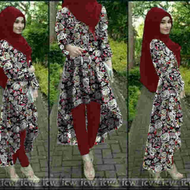 8187-flow (marron) stelan hijab 3in1+belt