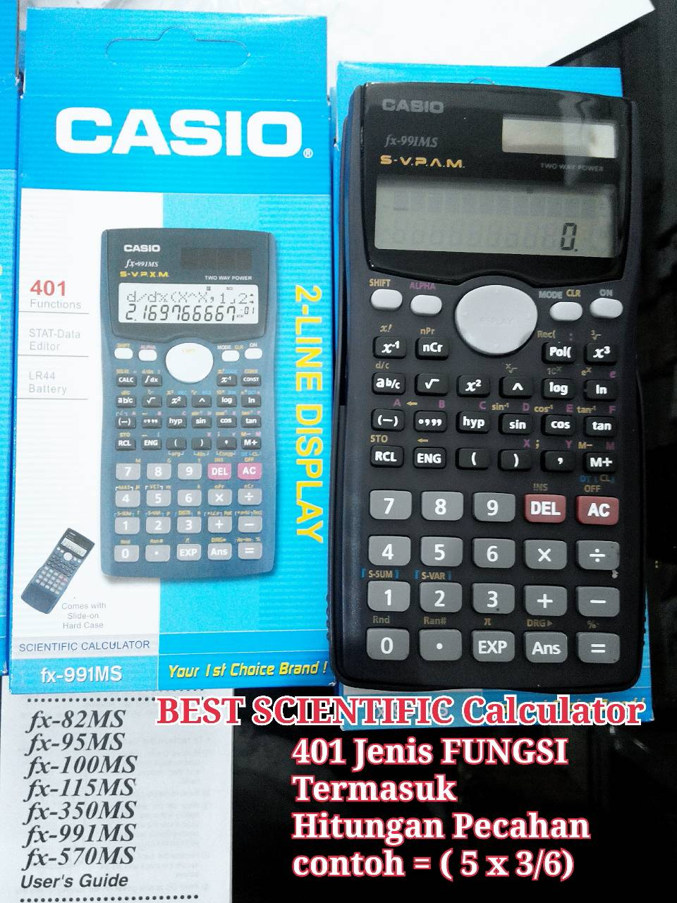 Jual Scientific Calculator Fx991 Ms 401 Macam Fungsi Pusat Kalkulator Hitung Distributor Tokopedia